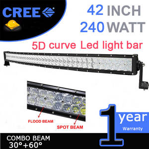 Wholesale curved led light bar: 42inch 240w CREE 5D Chips LED Light Bar Curved/Straight Combo Beam Work Light for Offroad Truck 4x4
