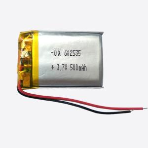 Wholesale lithium polymer batteries: 602535 500mah Lithium Ion Battery 3.7V Rechargeable Li-Polymer Battery