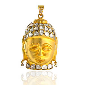 Wholesale jewelry: 18k Gold Rose Cut Diamond Buddha Pendant Jewelry
