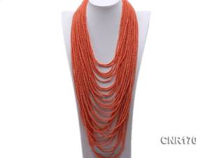 Wholesale evening gowns: Thirty-strand 4mm Orange Round Coral Necklace