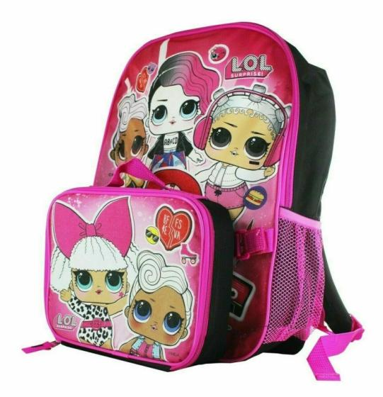 """Surprise lol Girl 16/"""" Large School Backpack With Lunch Box L.O.L 2 Piece Set"""