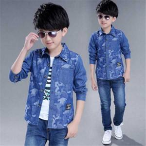 Wholesale denim garment: 2018 Printing Camouflage Cotton Kids Boys Denim Shirts Casual Hip Hop Large Size Jeans Shirt