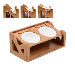 Wholesale wooden dining table: Wooden Elevated Pets Dining Table Cat & Dog Adjustable Height PET Feeding Bowl Food and Water Feeder