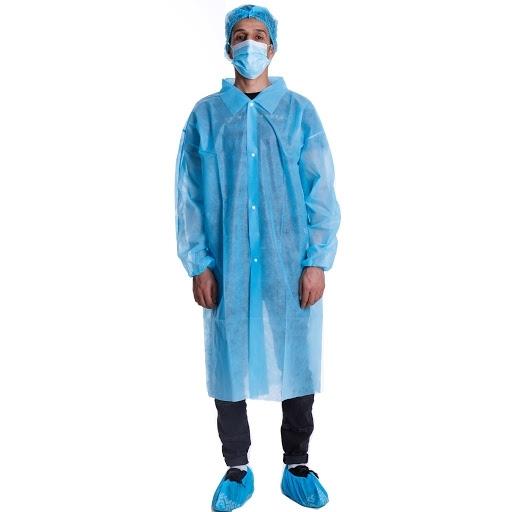 Disposable Hospital Doctor Blue Non Woven Lab Coats
