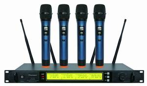 Wholesale wireless microphone: PU-4722 4 Channels UHF Wireless Microphone