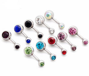 Wholesale piercing jewelry: Navel Ring Wholesale,316L Surgical Steel Belly Piercing Navel Body Jewelry with CZ Gem
