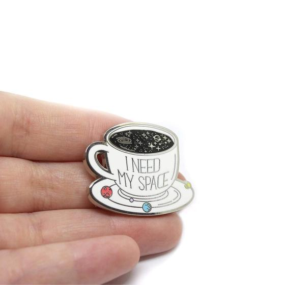 Sell Space Coffee Cup Hard Enamel Pin