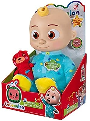 Cocomelon Musical Bedtime JJ Doll, with A Soft, Plush Tummy and Roto Head Press Tummy and JJ Sings