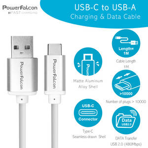 Wholesale usb data cable: PowerFalcon USB-C To USB-A Charging & Data Cable