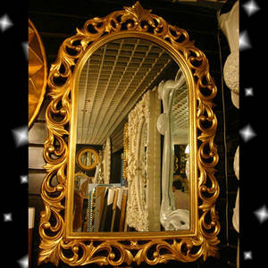 Wholesale wood deco: Antique French Rococo Shabby Chic Wooden Framed Mirror