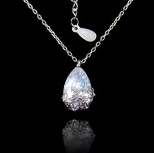 Wholesale gold necklaces: Sterling 925 Water Drop Zircon Silver Cubic Zirconia Necklace