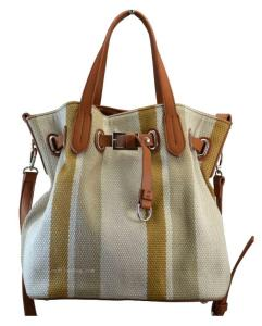 Wholesale women bag leather: Women Shoulder Bag -hobo Jacquard Canvas and Vegan PU Leather for Ladies, Teens, Girls