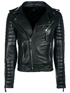 Wholesale leather jackets: Mens Diamond Quilted Leather Biker Jacket Black