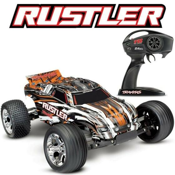 Traxxas Rustler XL-5 RTR RC Truck W/ID Battery & Quick Charger