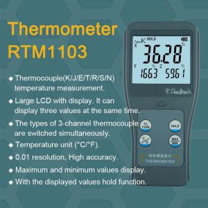 Wholesale channels: 3 Channels Portable RTM1103 Thermocouple Thermometer with Digital Display 0.01 E/J/K/N/R/S/T Type