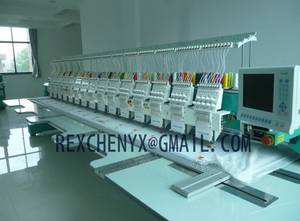 Wholesale flat embroidery machine: 15 Head 9 Needle Flat Embroidery Machine/Multi-Head Computerized Flat Embroidery Machine
