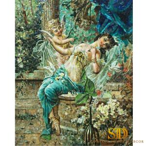 Wholesale decorative glass: Custom Made European Oil Painting Glass Mosaic Pattern Art Work for Wall and Ceiling Decoration