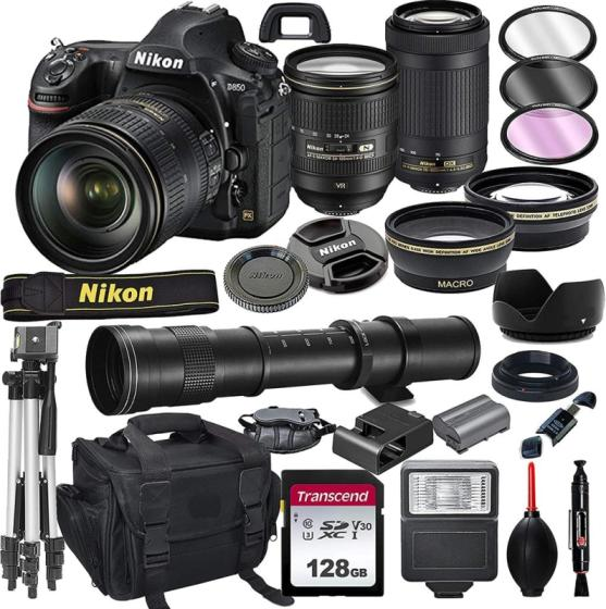 Nikon D850 DSLR Camera with 24-120mm VR and 70-300mm Lens Bundle with 420-800mm