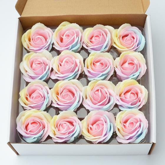 6cm  Graceful Colorful Rainbow Soap Rose Flower for Wedding& Home&Party Decoration