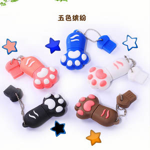Wholesale flash disk: U Disk Factory Cute Cartoon U Disk Cat Claw U Disk OEM Factory PVC Material Car USB Flash Drive