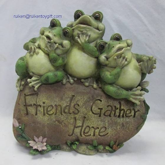 Sell 10 Inch Polyresin Three Fat Frogs Sitting on Friends Gather Here Stone