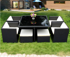 Wholesale Garden Tables/Picnic Tables: 9pcs Rattan Patio Garden Outdoor Dinning Table and Chair