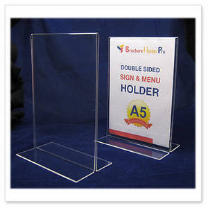 Wholesale sign holder: Vertical Double Sided, Stand Up Acrylic Sign Holder A5