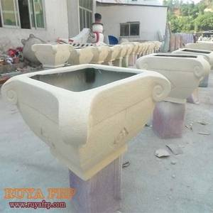 Wholesale decorative pot: RUYA Planter Stone Paint,Garden Decorative Pot,Fiberglass Material Customized Flowerpot