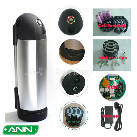 Electric Bicycle Lithium Battery 36v 10ah Water Bottle Battery