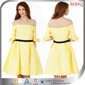 Wholesale casual dresses: 2016 Latest Design Off Shoulder Knee Length Casual Yellow Lady New Fashion Dress