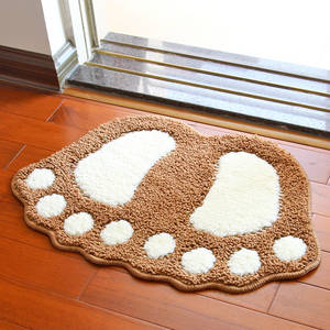 Wholesale bath mat: Lovely Flocking Feet Mats Doormat Bath Mat Bathroom Mat
