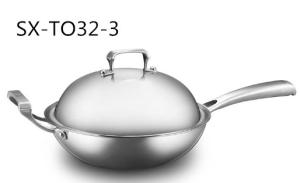 Wholesale non stick cookware: 18/10 Stainless Steel Cookware Chinese Wok Cooking Steamed Frying Wok (SX-32-3)
