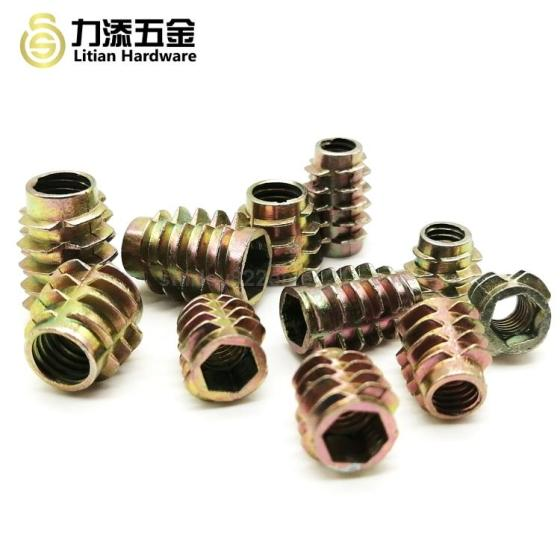 Zinc Alloy Plated Thread Interface Screw Wood Insert Nuts Iron Door Screw M4 Hex Nut for Wooden Furn
