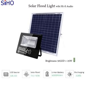 Wholesale iron: 150W Solar Flood Light Built-in Hi-fi Audio with Lithium-iron Battery