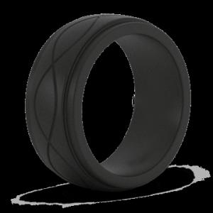 Wholesale silicone wedding ring: Men Is Infinity Black Silicone Ring