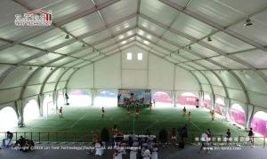 Wholesale clear span tents: White PVC Aluminum Expo TFS Curved Tent 40m Clear Span with Air Conditioner