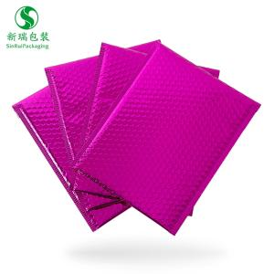 Wholesale gift packaging: 380*280+40mm Custom Logo Rose Red Poly Plastic Metallic Packaging Gift Shipping Bubble Envelope