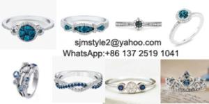 Wholesale silver jewelry: 926 Silver Jewerly Factory Directly Manufacture Women Children Jewelry Dark Blue Rings
