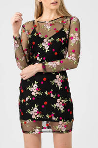 Wholesale embroid: Embroidered Floral Mesh Bodycon Dress