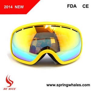 Wholesale Sports Eyewear: Professional Fashion Double Lens Anti-fog Ski Goggles with Camera