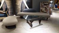 Triangle Noguchi Glass Coffee Table with Solid Wood Legs