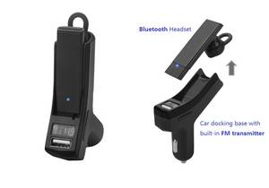 Wholesale Car Audio: Car Bluetooth Headset with Built-in FM Transmitter