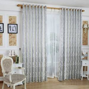 Wholesale window curtains: 100% Polyester Window Panel Jacquard Curtain