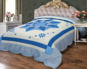 Wholesale bedspreads: Polycotton Patch-work Appliqued Bedspread