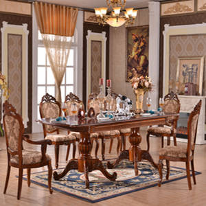 Wholesale wood dining chair: Extended Antique European Style Wood Dining Table and Chair