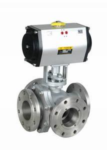 Wholesale 3 way valve: 3-way Flanged Pneumatic Operated Ball Valve