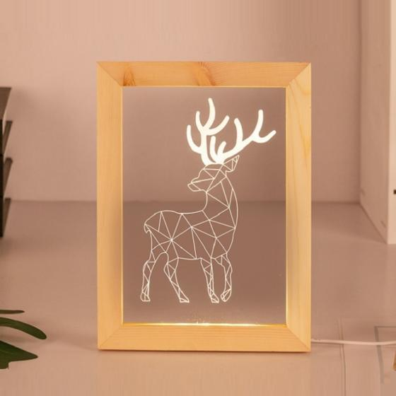 Sell Customize Laser Cut Acrylic Light Wood Photo Frame 3D Led Night Lamp