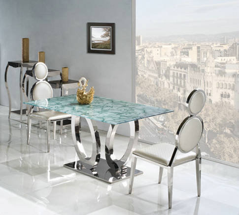 New Design Extendible Glass Dining Table
