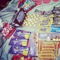Snickers, Kitkat, Bounty, Maltesers, Kinder Joy, Kinder Surprise, Kinder Bueno