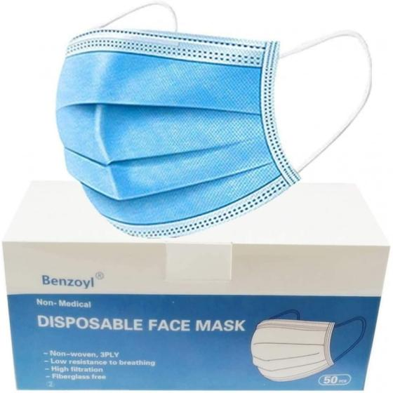 Sell Benzoyl 50Pcs Disposable Mask with Elastic Earloop